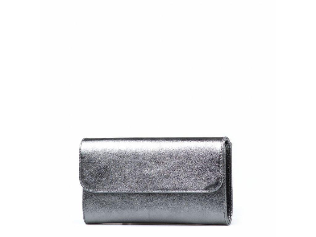 Kožená kabelka - psaníčko Felity kovově stříbrná