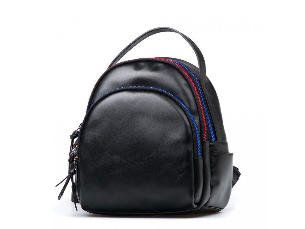 Kožený batůžek s barevnými zipy Nikol černý