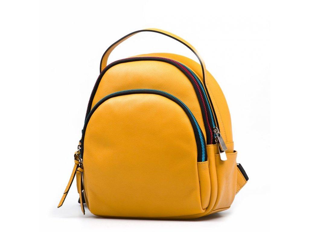 Kožený batůžek s barevnými zipy Nikol  žlutý