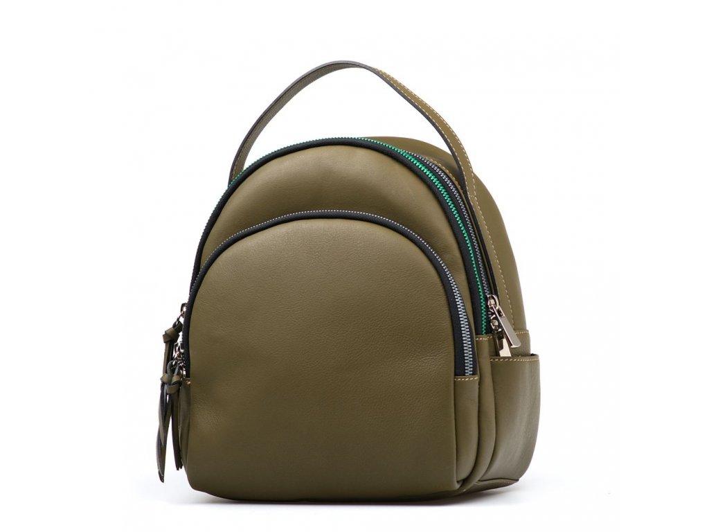 Kožený batůžek s barevnými zipy Nikol zelený