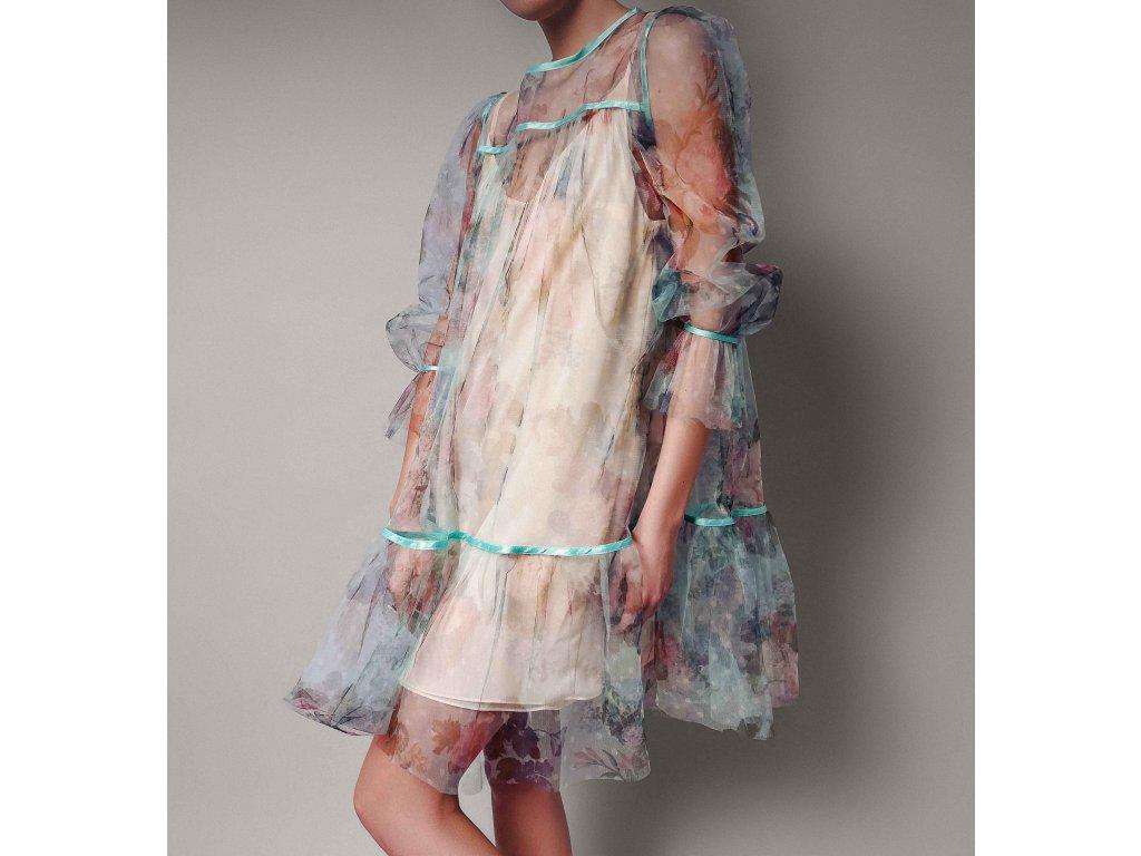 Šaty průsvitné s motivem zelené Atelier Flannel