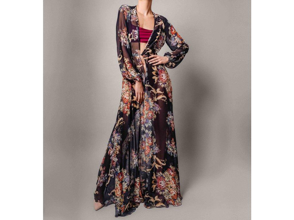 Přehoz s motivem kytek černo-hnědý Atelier Flannel
