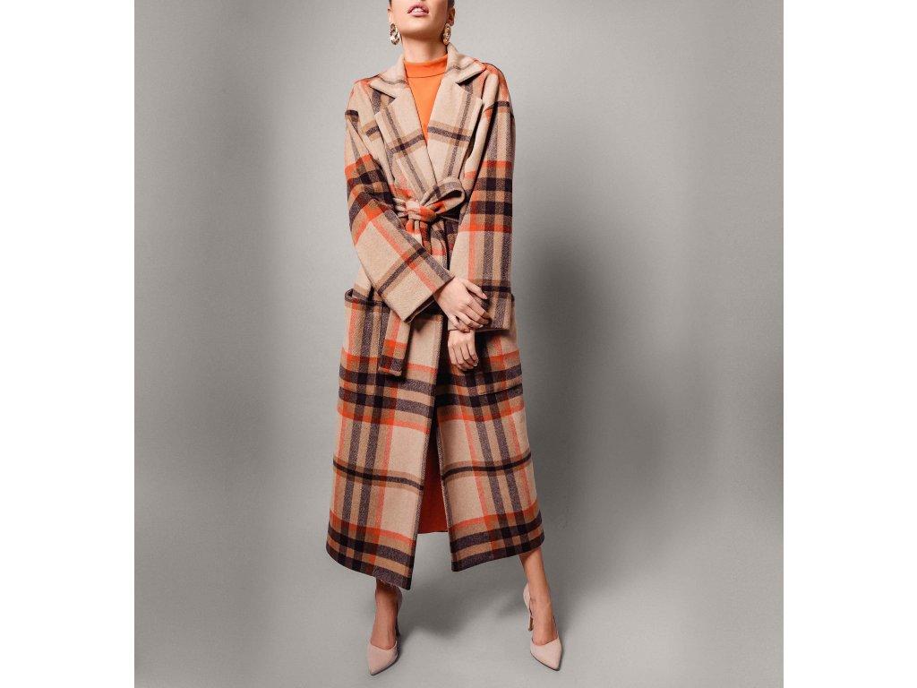 Kabát kostkovaný hnědý Atelier Flannel