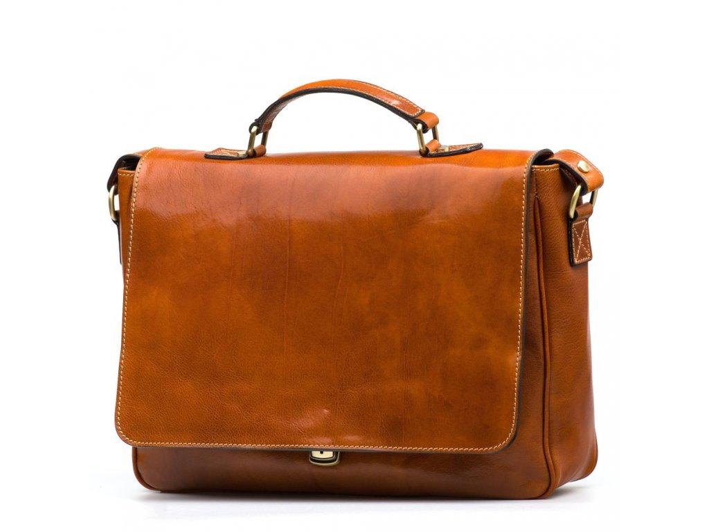 Kožená pracovní taška Simone koňakově hnědá