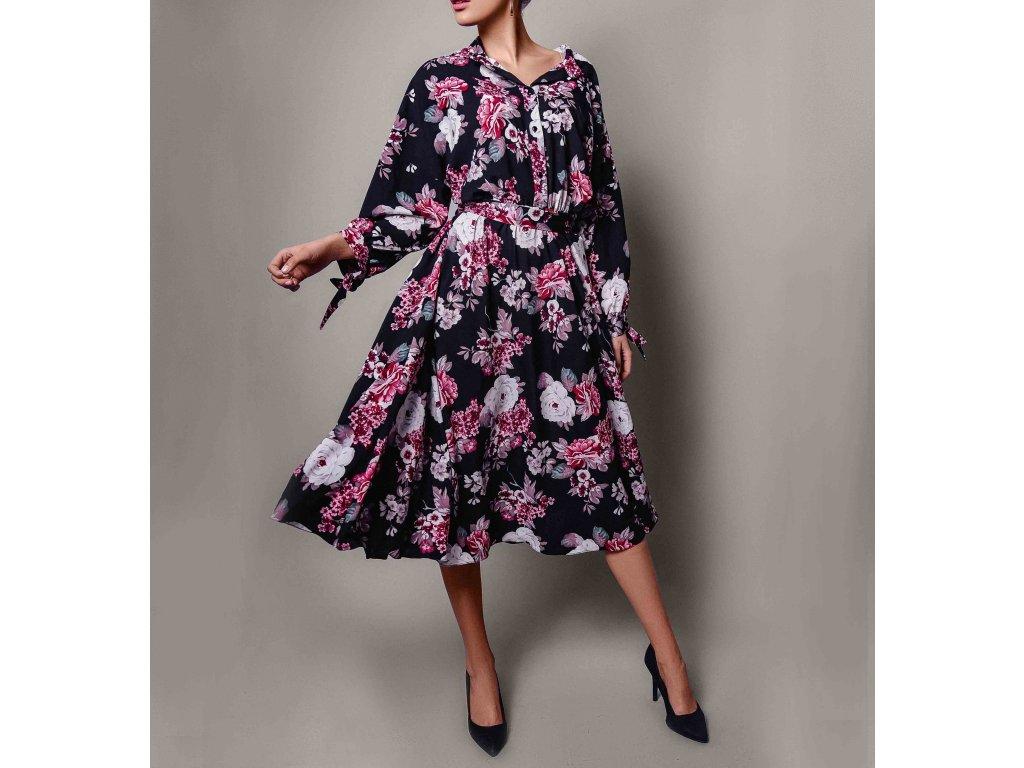 Šaty s potiskem kytek černo-bordó Atelier Flannel