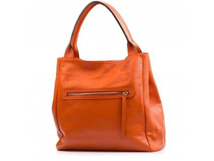Kožená maxi kabelka Rona oranžová