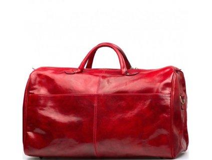 Kožená cestovní taška  Milva červená
