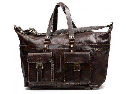 Kožená cestovní taška Erika hnědá