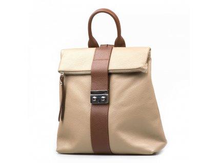 Kožený batůžek Greta béžovo-hnědý