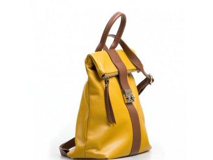 Kožený batůžek Greta hořčicově žlutý