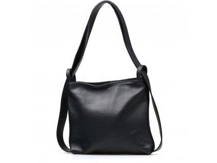 Kožená kabelka - batůžek Silvia černá