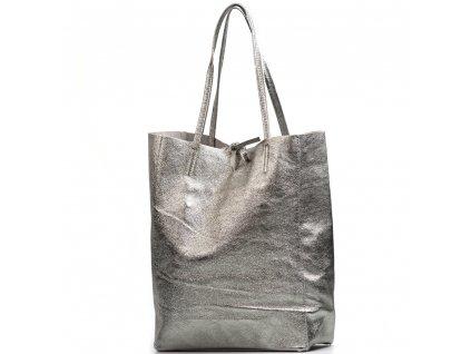 Kožená kabelka Solange kovově stříbrná
