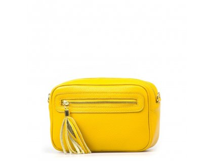 Kožená crossody kabelka Leira žlutá