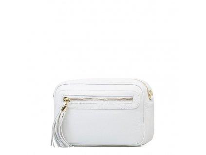 Kožená crossody kabelka Leira bílá