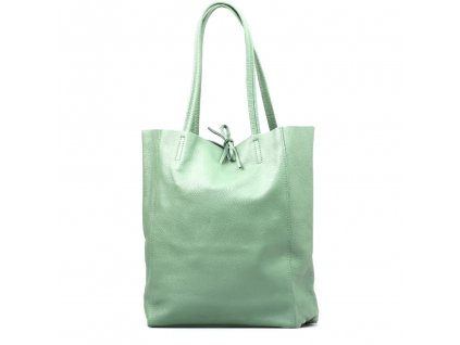 Kožená shopper kabelka Solange zelená