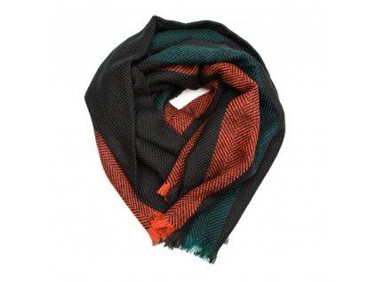 Dámská šála Ella černo-zeleno-oranžová