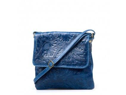 Kožená crossbody kabelka Linda modrá