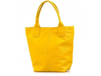 Kožená shopper kabelka Fiona žlutá