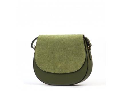 Kožená crossbody kabelka Sia olivově zelená
