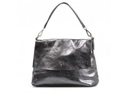 Kožená kabelka Briana kovově stříbrná