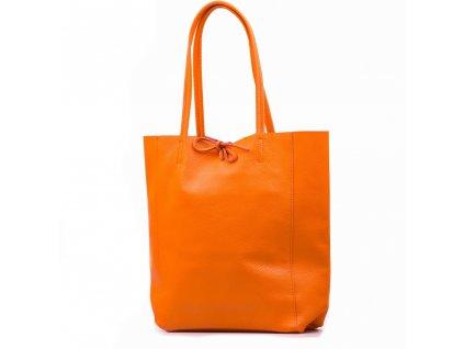 Kožená shopper kabelka Solange oranžová