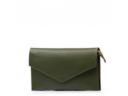 Kožená kabelka-psaníčko Naomi olivově zelená