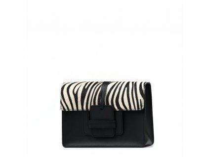 Kožená kabelka Ruffi s kožešinou černo-bílá