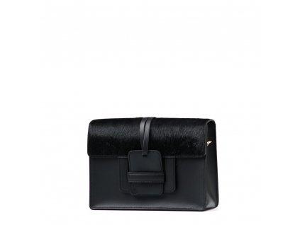 Kožená kabelka Ruffi s kožešinou černá