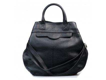 Kožená maxi kabelka Tiziana černá