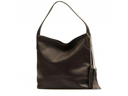 Kožená kabelka Dilia tmavě hnědá