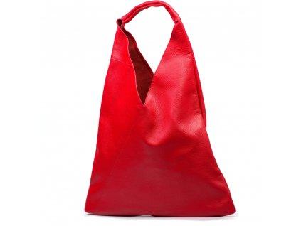 Kožená maxi kabelka Carla červená