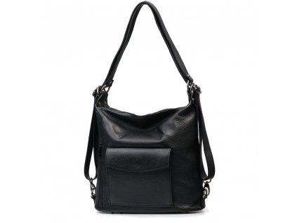 Kožená kabelka-batůžek Zoe černá