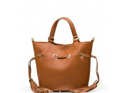 Kožená kabelka s třásněmi Ania koňakově hnědá