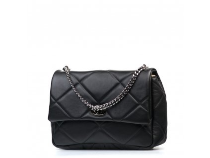 Kožená prošívaná kabelka Sabrina černá