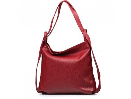 Kožená kabelka - batůžek Giada vínově červená