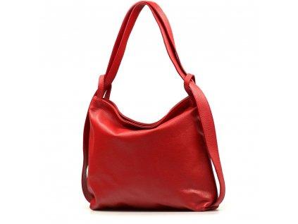 Kožená kabelka - batůžek Giada červená