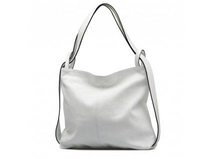 Kožená kabelka - batůžek Giada bílá