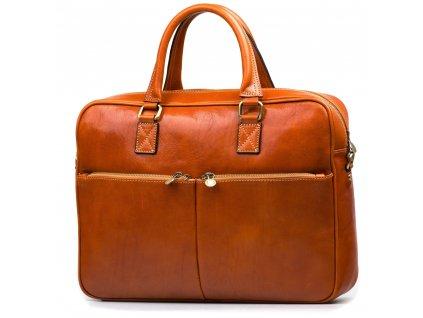 Kožená pracovní taška Daniele koňakově hnědá