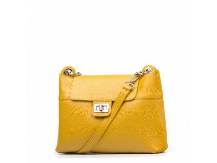 Kožená kabelka Carina hořčicově žlutá