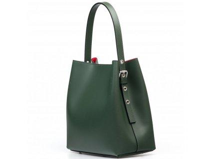 Kožená kabelka Sarah zeleno-červená