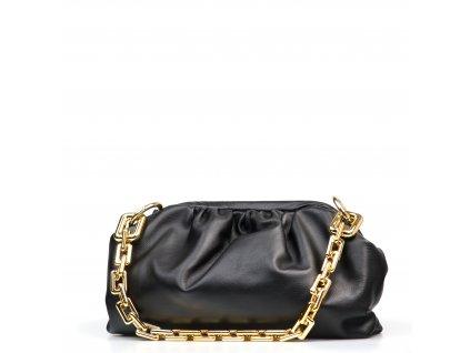 Kožená kabelka s řetízkovým popruhem Tecla černá