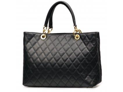 Kožená prošívaná kabelka Marianne černá