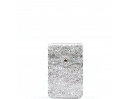 Kožená mini kabelka Jessi na telefon stříbrná