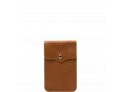 Kožená mini kabelka Jessi na telefon koňakově hnědá
