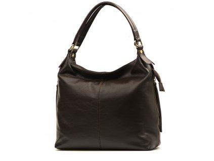 Kožená kabelka Beatrice tmavě hnědá