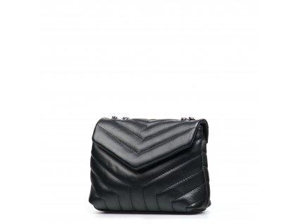 Kožená prošívaná kabelka Elide černá