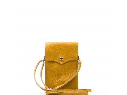 Kožená mini kabelka Jessi na telefon hořčicově žlutá
