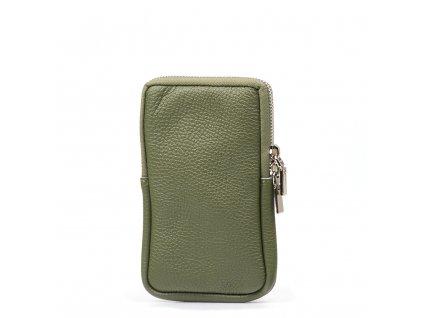 Kožená mini kabelka Mila na telefon zelená