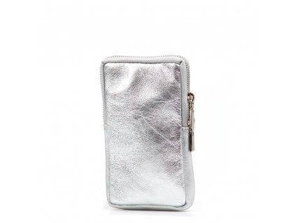 Kožená mini kabelka Mila na telefon stříbrná