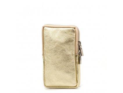 Kožená mini kabelka Mila na telefon zlatá